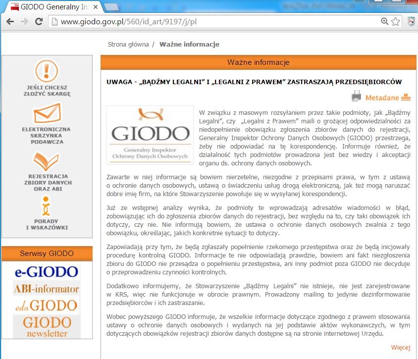 GIODO informuje zastraszanie