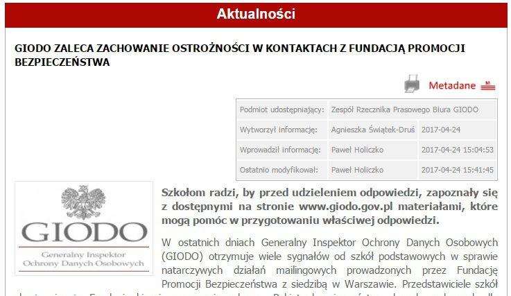 Zmanipulowana informacja GIODO