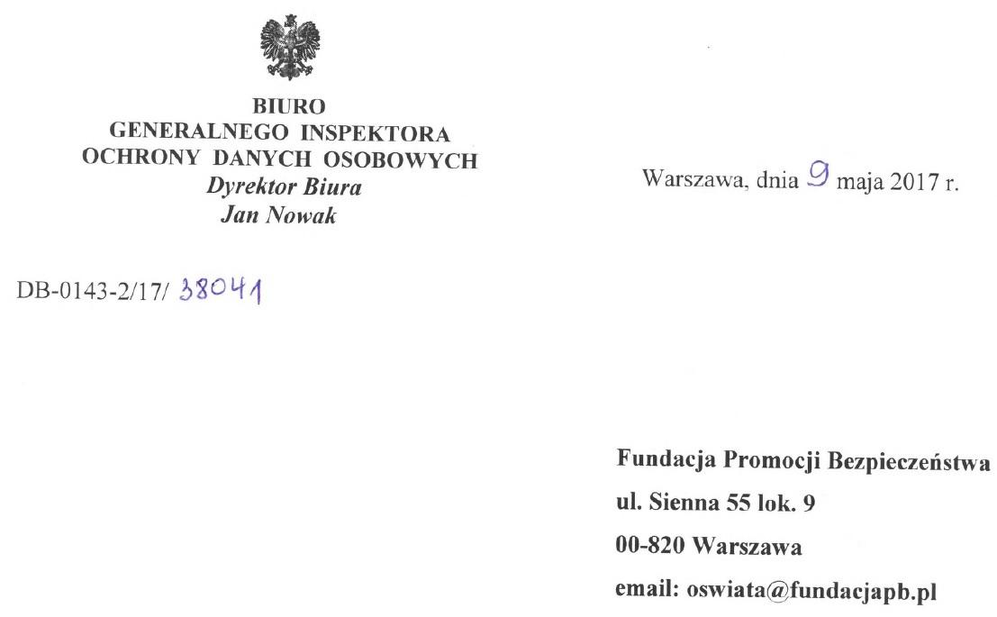 GIODO odpowiedź na wniosek FundacjiPB