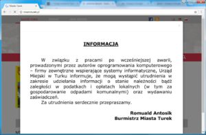 2017_08_31 Komunkat UM Turek utrudnienia